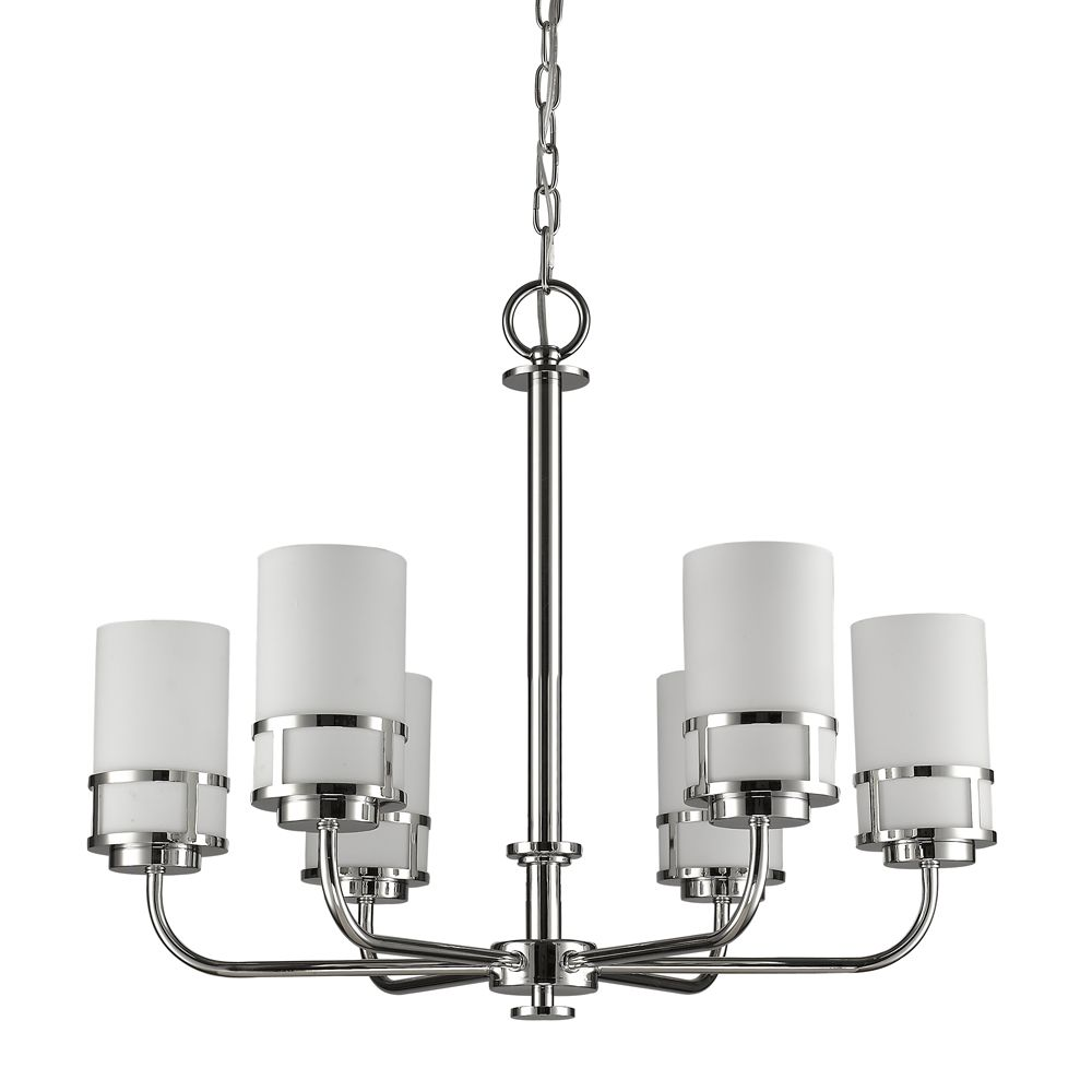 Acclaim Alexis 6-Light Chandelier with Glass Shades In Polished Nickel