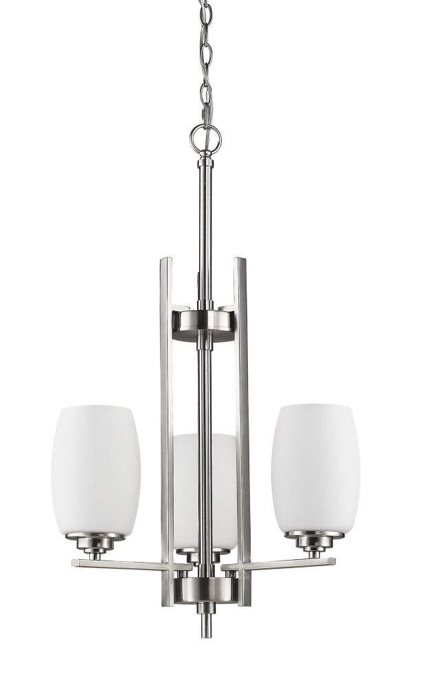 Acclaim Sophia 3-Light Mini Chandelier with opal Glass Shades In Satin Nickel