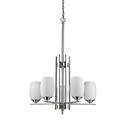 Acclaim Sophia 5-Light Chandelier with opal Glass Shades In Satin Nickel
