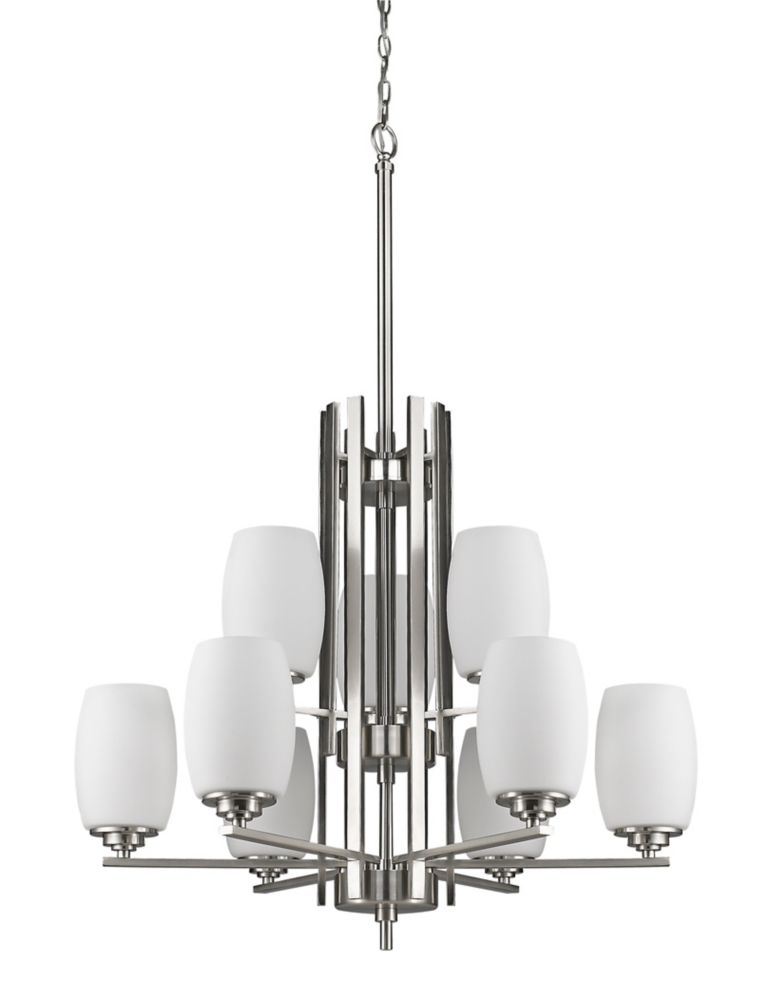 Acclaim Sophia 9-Light Chandelier with opal Glass Shades In Satin Nickel