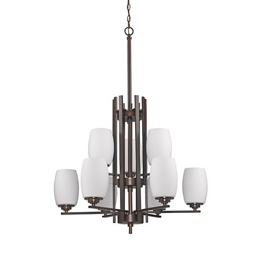 Acclaim Sophia 9-Light Chandelier with opal Glass Shades In Oil Rubbed Bronze