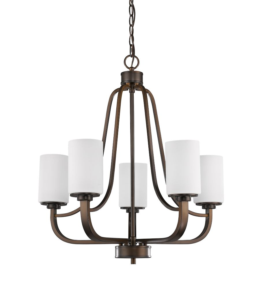 Acclaim Addison 5-Light Chandelier with opal Glass Shades In Oil Rubbed Bronze