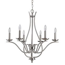 Acclaim Genevieve 6-Light Chandelier In Satin Nickel