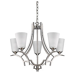 Acclaim Zoey 5-Light Chandelier with Glass Shades In Satin Nickel