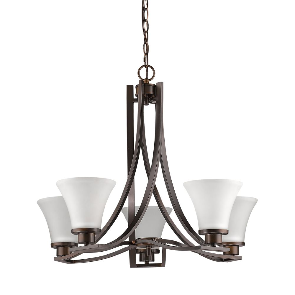Acclaim Mia 5-Light Chandelier with Glass Shades In Oil Rubbed Bronze