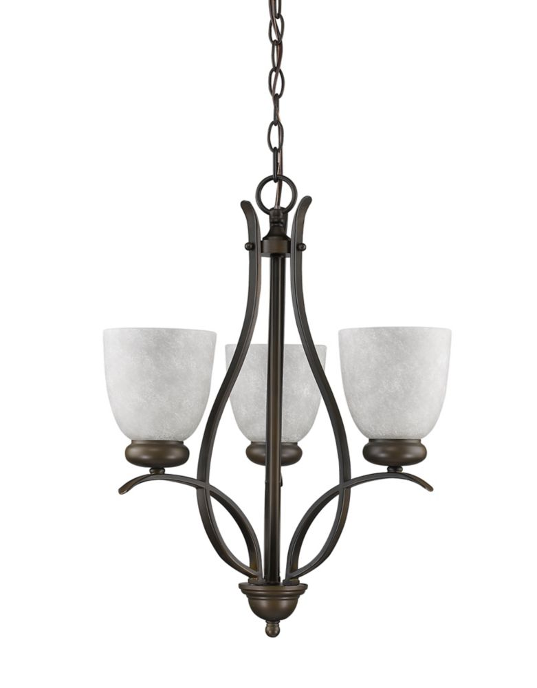 Acclaim Alana 3-Light Mini Chandelier with Glass Shades In Oil Rubbed Bronze