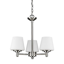 Acclaim Paige 3-Light Chandelier with opal Glass Shades In Satin Nickel