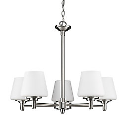Acclaim Paige 5-Light Chandelier with opal Glass Shades In Satin Nickel