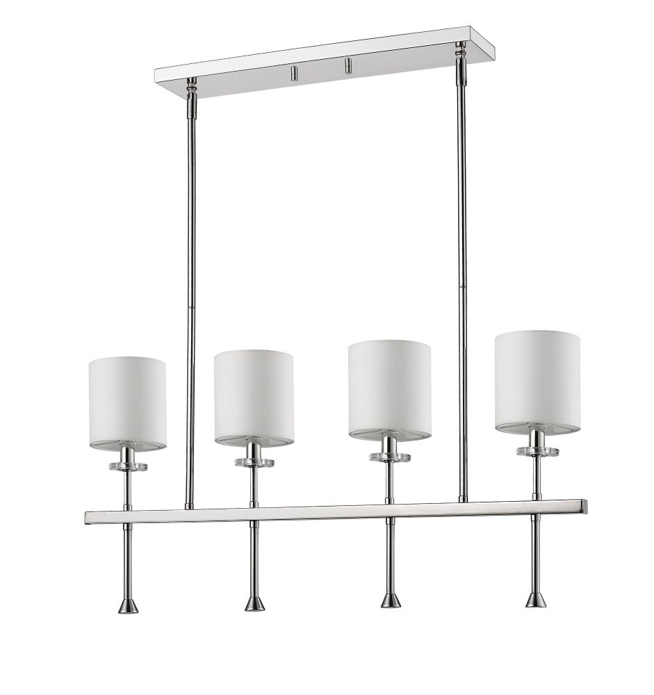 Acclaim Kara 4-Light Pendant with Shades & K9 Crystal Bobeches Polished Nickel