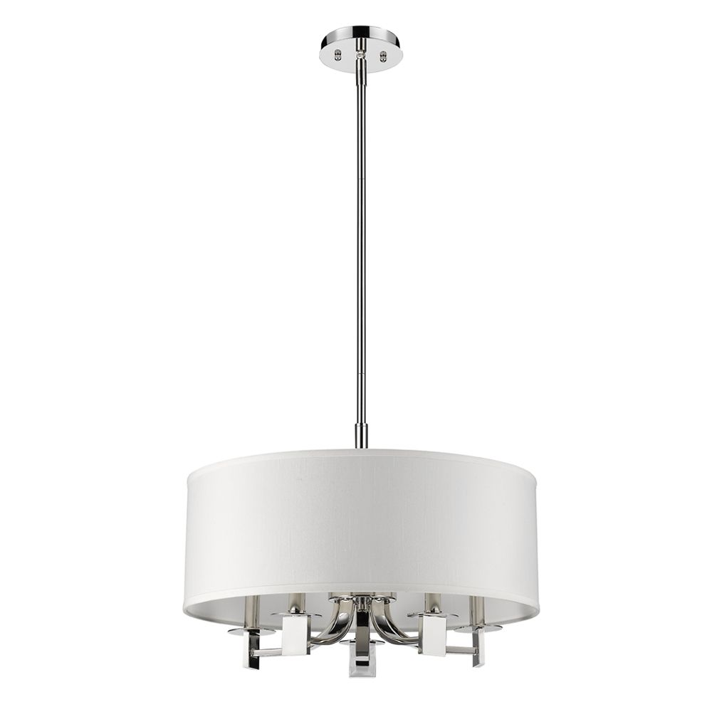 Acclaim Andrea 5-Light Pendant with Fabric Shade In Polished Nickel