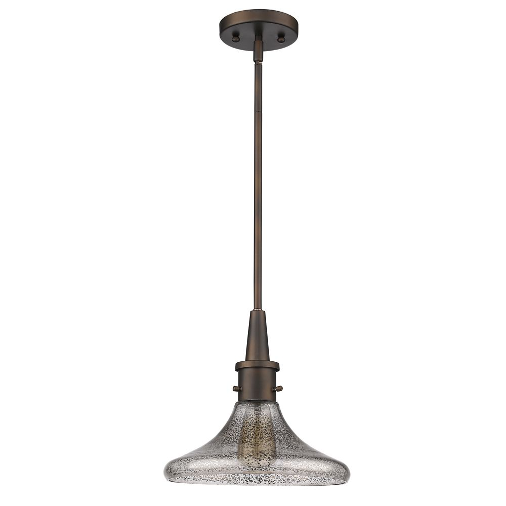 Acclaim Brielle 1-Light Pendant with half dome speckled Glass Shade In Oil Rubbed Bronze