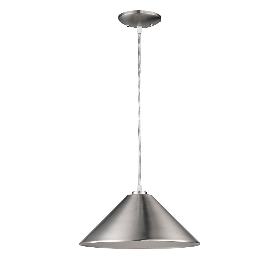 Acclaim Alcove 1-Light Pendant Metal Shade In Satin Nickel