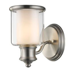 Acclaim Giuliana 1-Light Sconce with dual Glass Shade In Satin Nickel