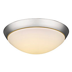 Acclaim Indoor 2 light 13 inch Flushmount opal glass in Satin Nickel