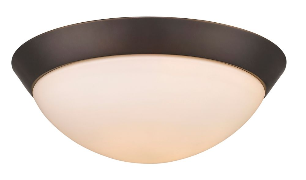 Acclaim Indoor 2-Light Flush Mount 13 inch  in Oil-Rubbed Bronze with opal glass shade