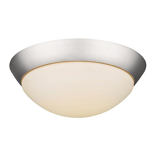 Acclaim Indoor LED 1,800-lumen 22 watt 15 inch Flushmount in Satin Nickel with opal glass