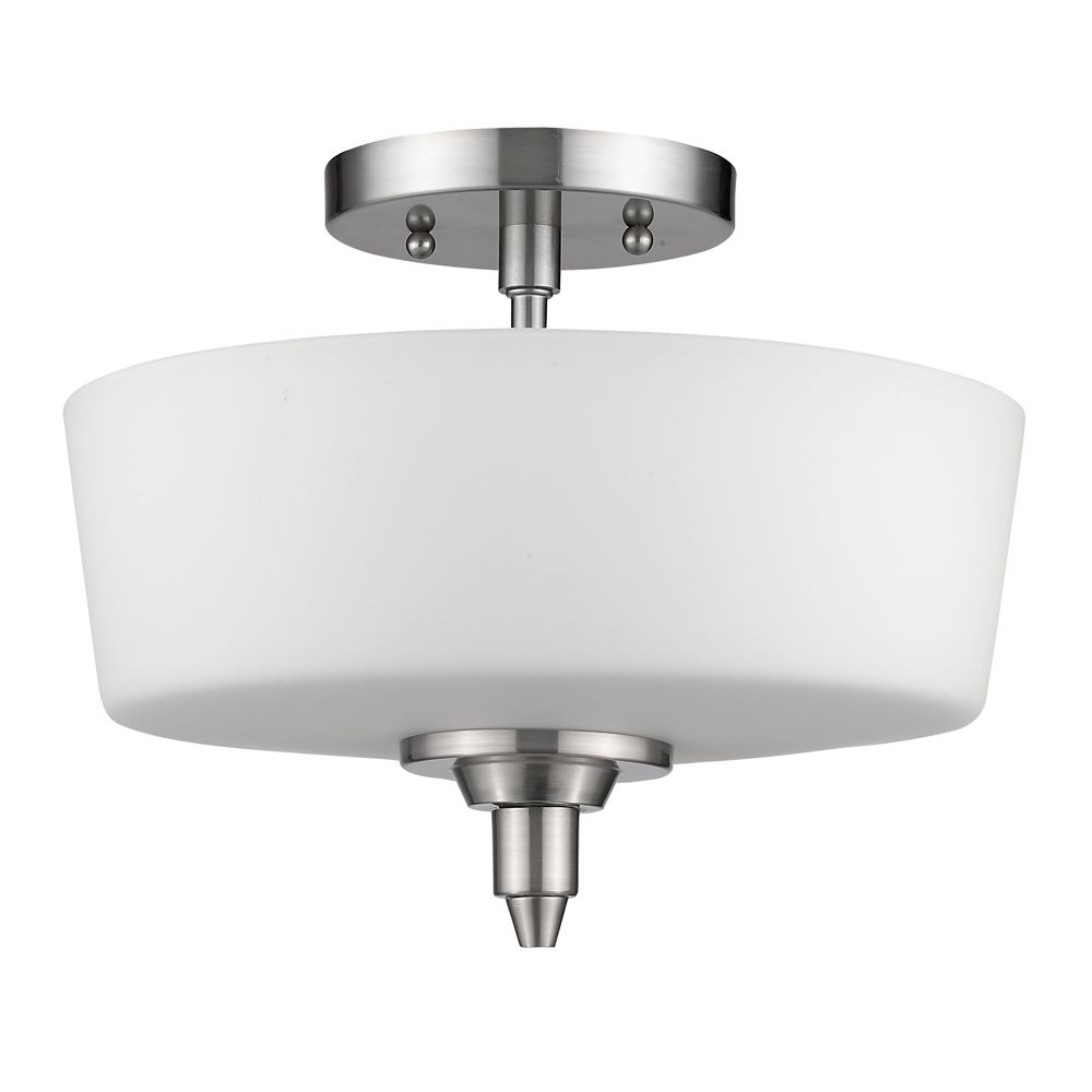 Acclaim Paige Indoor 2-Light Semi-Flush Mount in Satin Nickel with opal glass diffuser.