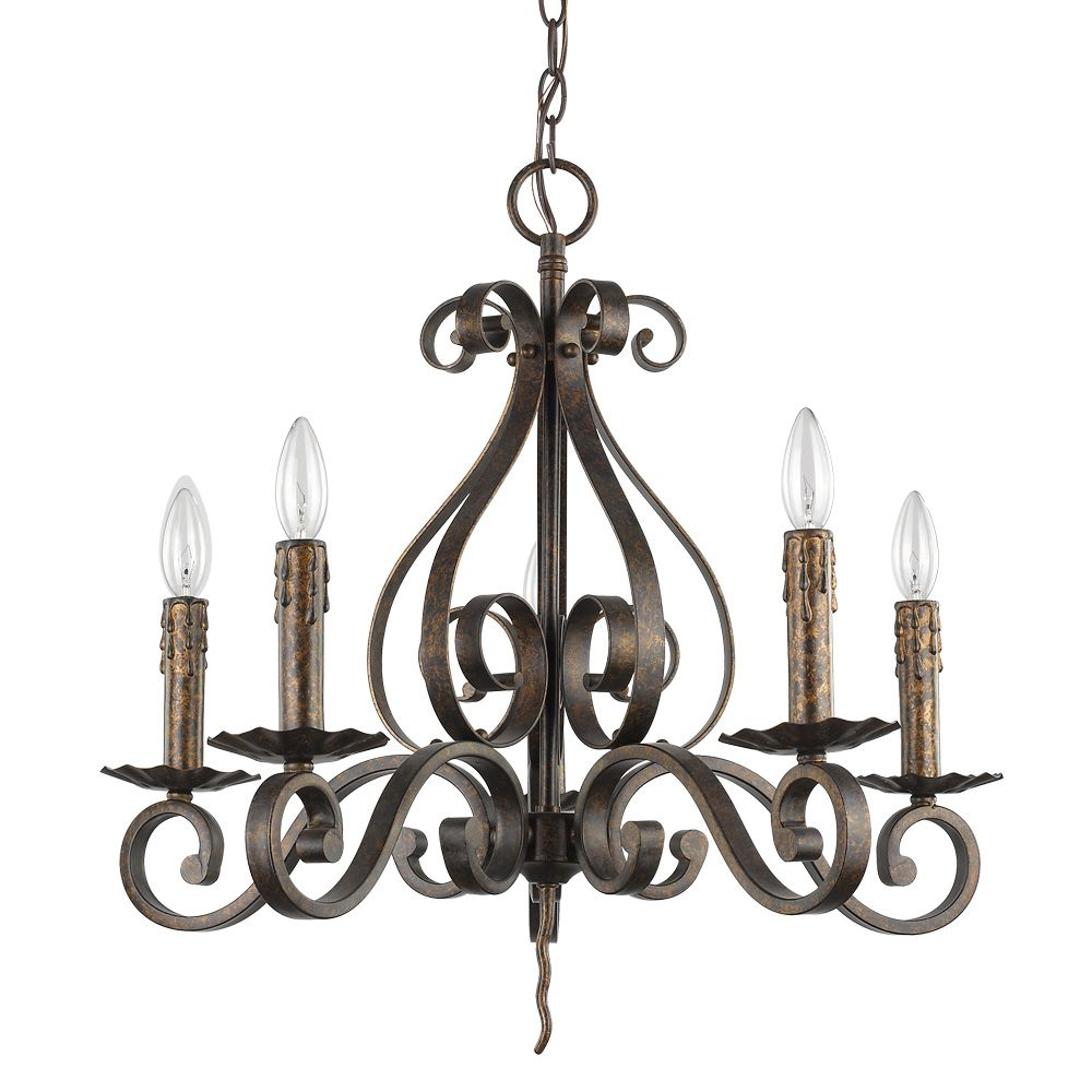Acclaim Lydia 5-Light Russet curved arms Chandelier with candle drip holders an artistic design.