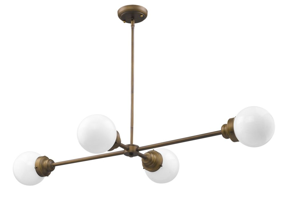 Acclaim Portsmith 4-Light horizantal arm Pendant in Raw Brass with opal glass globes