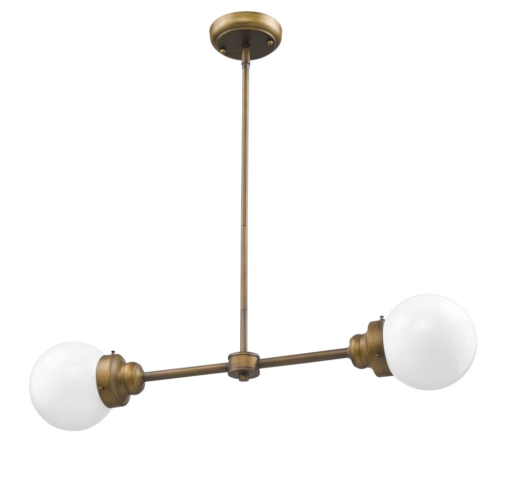 Acclaim Portsmith 2-Light linear Pendant in Raw Brass with opal glass globes