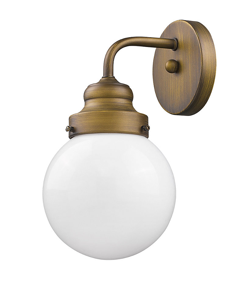 Portsmith 1-Light Sconce in Raw Brass with opal glass globe an up or down light