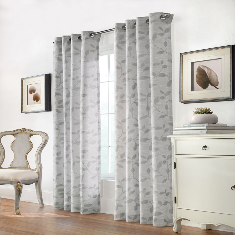Home Decorators Collection Melbourne Light Filtering Raised Leaves Jacquard Grommet Curtain 52x95 color Silver