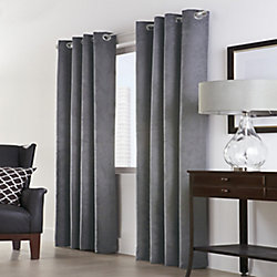 Home Decorators Collection Navar 100% Blackout Grommet Curtain 54 inches width X 63 inches length, Dark Grey
