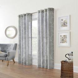 Home Decorators Collection Augusta Faux Linen Sheer Grommet Curtain 52 x 108 color Silver