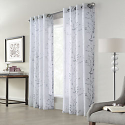 Home Decorators Collection Edinburgh Faux Linen Printed Sheer Grommet Curtain 52x108 in colour White