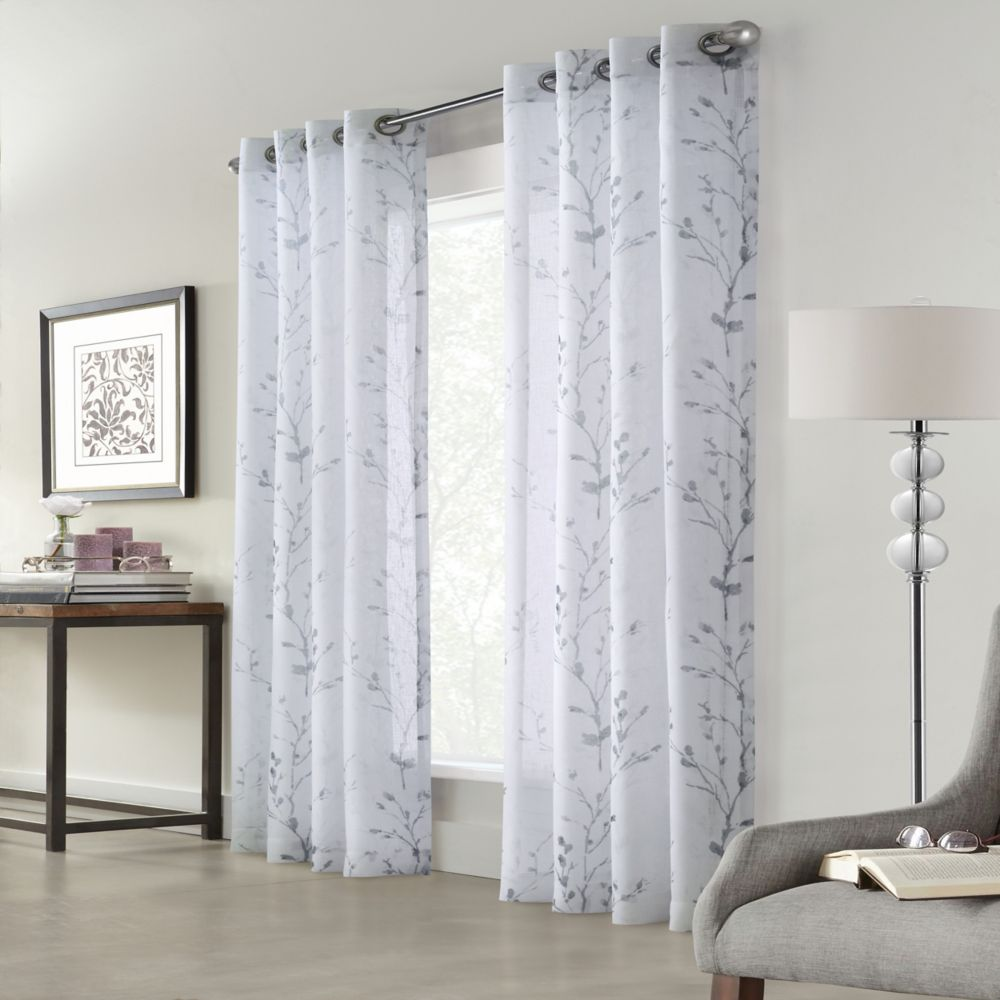 Home Decorators Collection Edinburgh Faux Linen Printed Sheer Grommet Curtain 52x108 in color White
