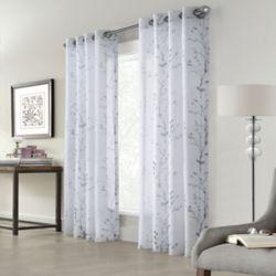 Home Decorators Collection Edinburgh Faux Linen Printed Sheer Grommet Curtain 52x108 in colour White