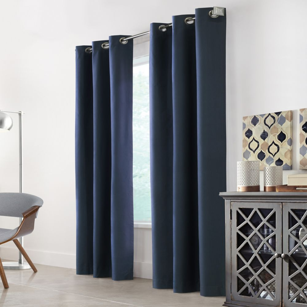 Home Decorators Collection Hillsdale Textured Printed foamback Blackout Grommet Curtain 40x108 color Blue