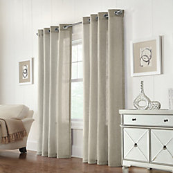 Home Decorators Collection Wickham Light Filtering Grommet Curtain 52 inches width X 108 inches length, Linen