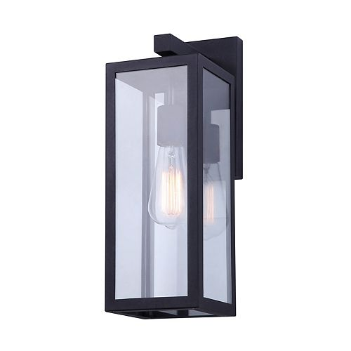 "Canarm MONTANA 16""H 1-light black outdoor wall light with clear glass panels"