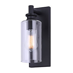 CORMAC 1-light black outdoor wall light with clear glass shade