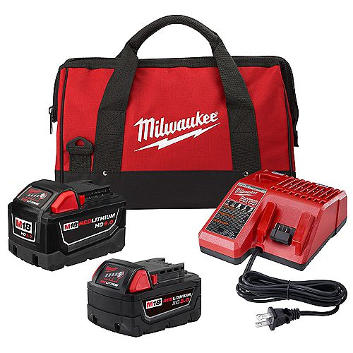 Milwaukee Tool M18 18V Li-Ion Starter Kit with (1) 9.0 Ah Battery and (1) 5.0 Ah Battery and Charger