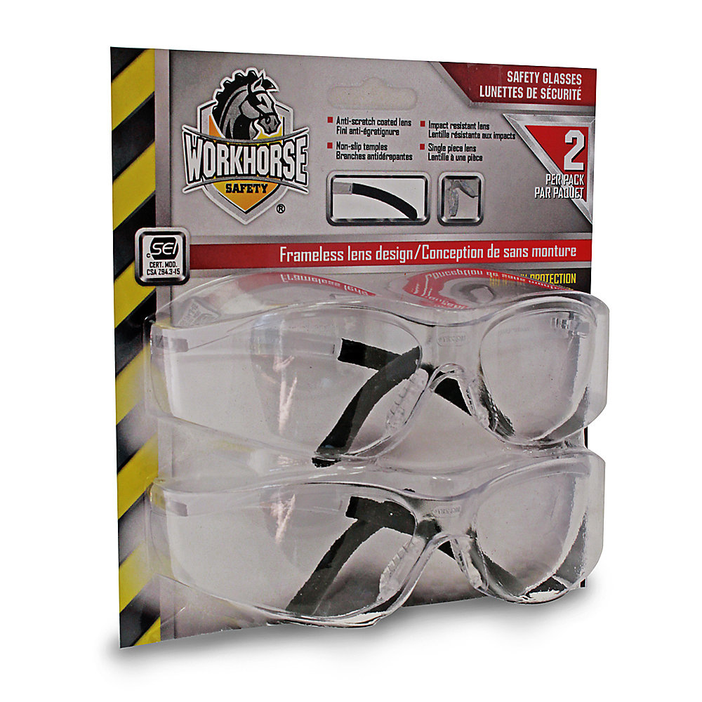 Workhorse Safety Glasses Clear Lens Retail Pack | The Home