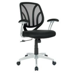 Work Smart Black Screen Chair with Silver arms