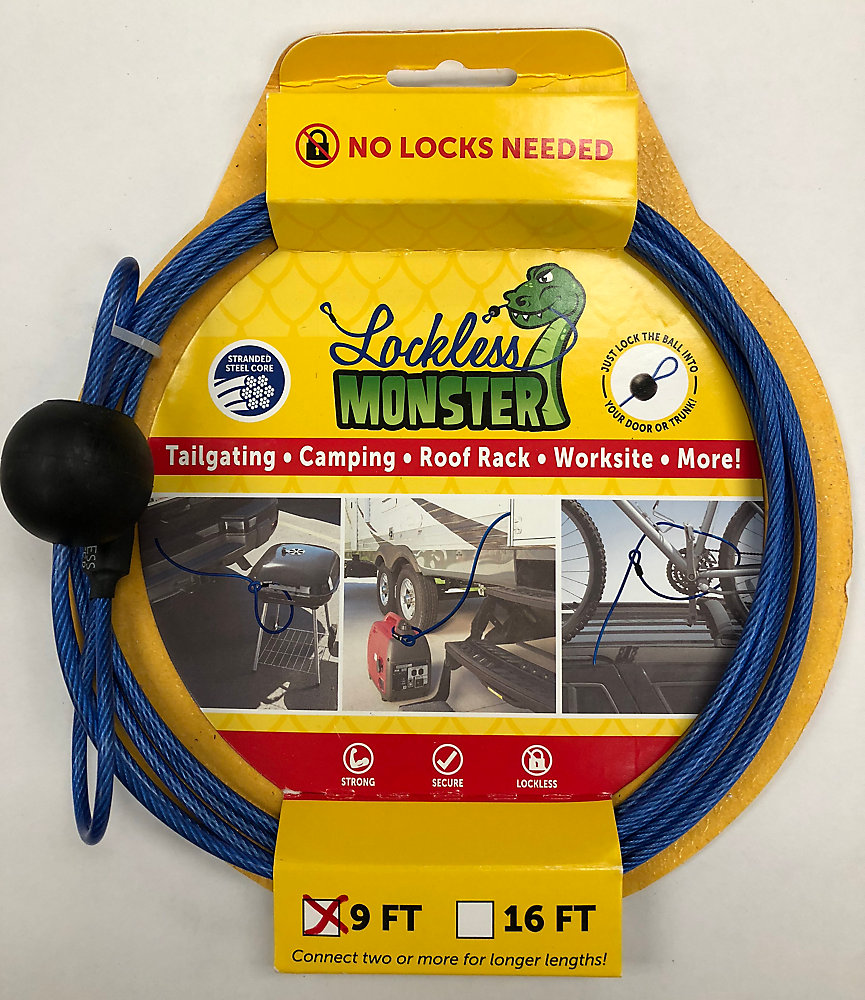 Lockless Monster Anti Theft Cable No Locks Needed 9 Ft