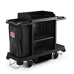 Suncast Housekeeping Plastic Cleaning Cart with Laundry and Tool Storage