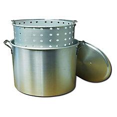 Marmite à bouillir en aluminium de 30,28 litres avec couvercle et panier en aluminium perforé