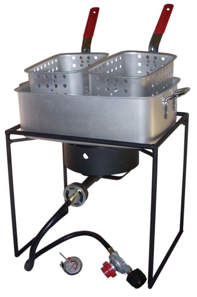 King Kooker Double Basket Fish Fryer Package with Rectangular Aluminum Fry Pan