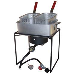 King Kooker 16-inch Double Basket Propane Fish Fryer Kit with Rectangular Aluminum Fry Pan