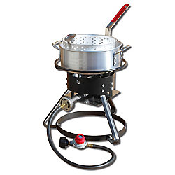 King Kooker 12 inch Tall Fish Fryer Package with 10 At. Aluminum Fry Pan