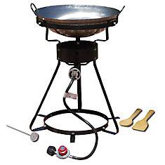 Ensemble de wok avec cuiseur au propane portatif polyvalent pour usage extérieur