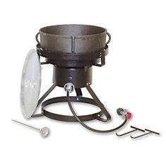 Cuiseur au propane portatif pour usage extérieur avec marmite en fonte de 18,92 litres (5 gal)