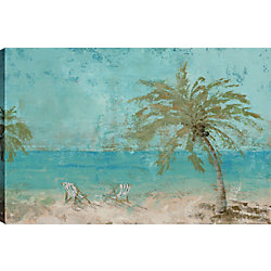 ArtMaison Canada Palm by Ocean Giclee Gallery Wrapped Canvas Wall Art, Modern Décor for Home, Office Ready to Hang