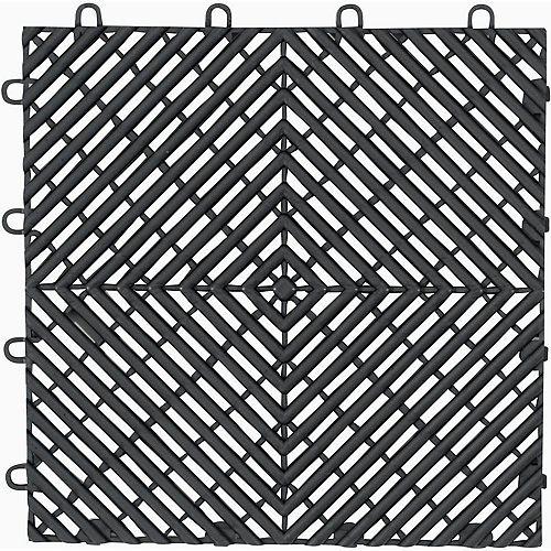 Gladiator Dalle de plancher de garage en polypropylène anthracite de 12 po x 12 po (paquet de 4)