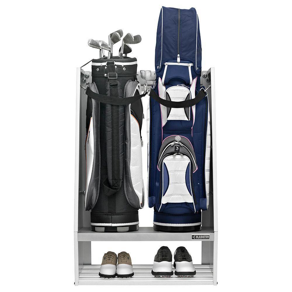 Gladiator  Premier Series Welded Steel 2-Bag Golf Caddy Garage Wall Storage in White