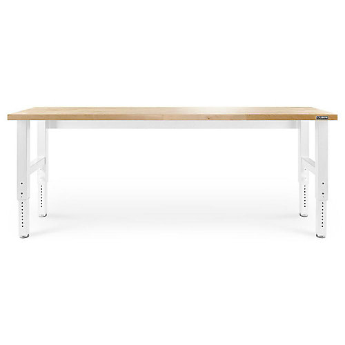 8 ft. Adjustable Height Workbench with Hardwood Top in White